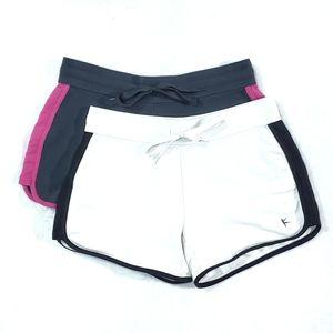 Danskin Now Athletic Shorts Activewear White Gray